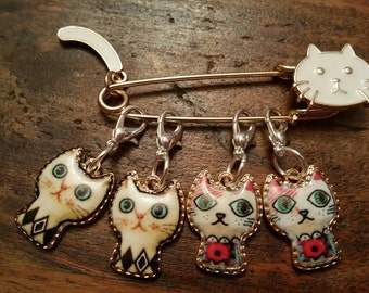Kawaii Cat Stitch Marker Scarf Pin Set of 4 Snag Free Kitty Knitting Crochet WIP Progress Place Keeper Knitters Friend Secret Santa Gift FYC