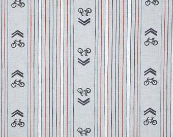 SALE Bike Fabric Cycles of Life Bike Lane Stripe Fabric in Gray Bicycle Fabric - 1 Yard