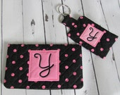 Ready to Ship //  Black and Pink Dot Quilted Checkbook Cover and Pocket Key Fob Set - Initial Y