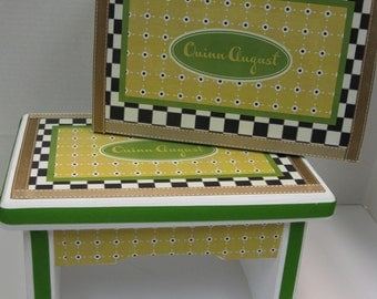 GIFT SET Black and White Check with Yellow and Green Dot Sturdy Wood Step Stool and Memory Box