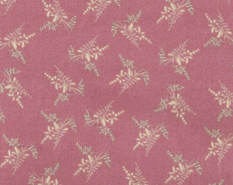 Cotton Fabric - Delicate Fern and Leaf Print on Mauve