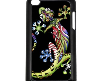 Art Gecko Black on Apple iPod Touch 4th Generation Black Hard Case Original Lizard Art