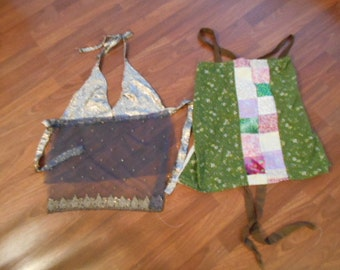 2 BRAND NEW HiPPIE BoHO Tie BaCK APRoN ToPS - both size xs to small (size 4 max) backless style tie up