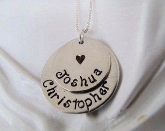Mom's Necklace with heart stamp, Slightly Cupped, with Two or Three Names in Nickel Silver