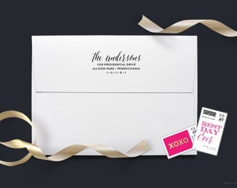 Wedding Return Address Stamp -  Wedding Invitations, Custom Address Stamp - Personalized Wedding Gift, Self Inking Stamp, Wood Handle Stamp