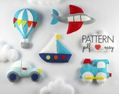 Felt Transportation Sewing Pattern set DIY Baby Mobile Pattern Airplane, Train, Car, Boat, Hot Air Balloon,felt sewing pattern, garland, toy