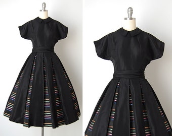 vintage 1950s dress / 50s stripe dress / 1950s Jane Andre dress / Pleasantville dress