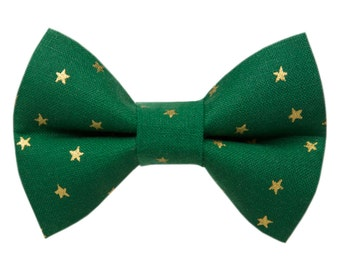 """Cat Bow Tie - """"The Straight Shooter"""" - Holiday Green with Metallic Stars"""