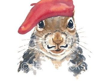 Squirrel Watercolor PRINT - Nursery Art, 11x14 Print, French Squirrel, Mustache, Parisian, Animal Watercolour