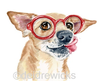 Chihuahua Watercolor - 8x10 PRINT, Dachshund Painting, Chiweenie, Nursery Art, Round Glasses, Cute Dog Art