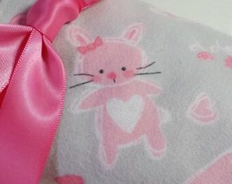 New! Handmade Flannel Baby Blanket - Pink Bunnies on Grey with Flowers - Reversible Baby Blanket, Baby Shower Gift, Receiving Blanket