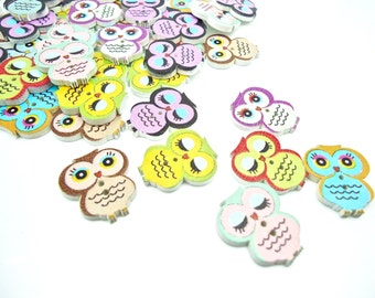 20 x Owl Shape Wooden Buttons - Wood Painted Buttons - 22mm
