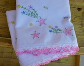 Vintage Pillowcases with Hand Crochet Pink Trim and embroidered flowers