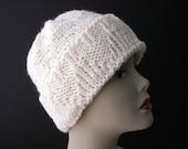 Classic WHITE 100% Peruvian Soft WOOL Hand Knit Beanie Ski Hat  /  Knit Slouch hat / fold up knit hat / Ready to ship Wool Knit hat