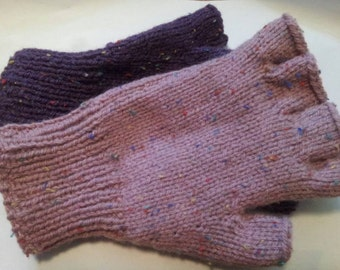 Half finger gloves Tweed look, Hand Knitted fingerless gloves.