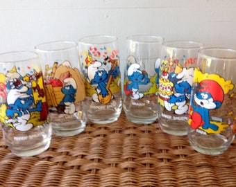 1980s Vintage Smurf Tumblers / Glassware / Wallace Berrie & Co. 1982/1983