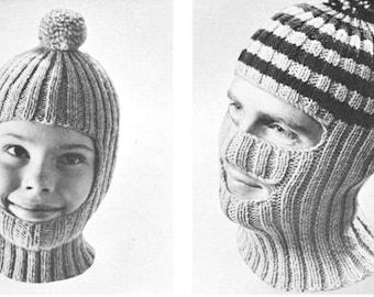 vintage knitting pattern boys mens winter hat balaclava mask toque 2 styles 2 sizes printable pdf pattern 1960