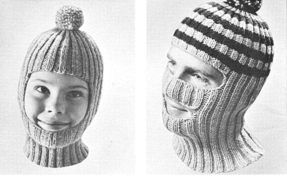 Vintage Knitting Pattern Boys Mens Winter Hat Balaclava Mask Toque 2