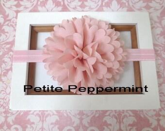 Pink baby headband, baby head band flower, toddler headband, newborn headband, girl head band, pink baby hair bow, infant headband