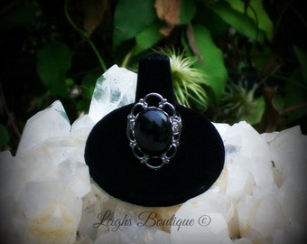 Black Onyx Divine Protection Adjustible Silver Ring