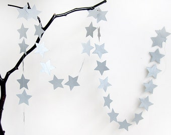 STAR garland in Silver, Paper Garland, Wedding Garland, Wedding Decoration, Paper Decoration, Christmas Decoration by renna deluxe