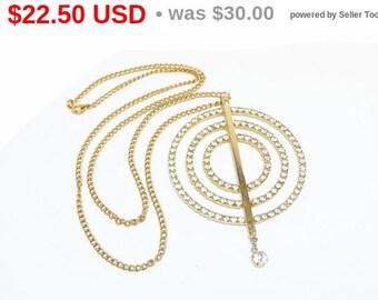 Retro Pendant & Skinny Chain - Mod Goldtone Circles with Clear Rhinestones - 1970's Vintage Jewelry