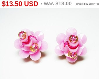 Pink Rose Earrings - Clip on Earrings - Iridescent Faceted Beads - Made in W Germany Signed - Plastic Classics