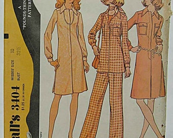 Vintage 70's Misses' Dress or Tunic Top and Pants, Pantsuit McCall's 3404 Sewing Pattern UNCUT Size 10