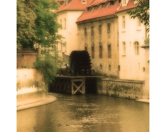 Fine Art Color Travel Photography of Prague - Vintage Style Print of Kampa Water Mill