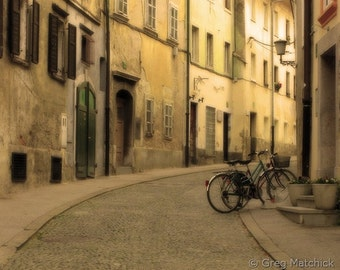 """Fine Art Color Travel Photography of Bicycles on Street in Europe - """"Quiet Street and Bicycles in Ljubljana"""" (Slovenia)"""