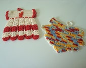2 Vintage Crocheted Pot Holders Dress and Leaf
