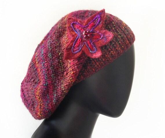 Bonfire Glow Slouch Hat - Knitted Warm Woolly Winter Hat