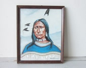 Vintage Native American Framed Print by Randy Charlesworth