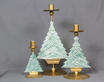 Candlesticks, 3 Metal Christmas trees, Gold/green/shabby chic/Green trees/Garland/Wax catchers/Wide metal bases/Very stable/Heavy