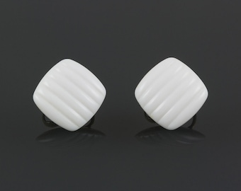 White jade clip earrings Vintage/signed Avon, Faux jade, White plastic, Square, Silver metal, Wedding earrings, Carved parallel lines