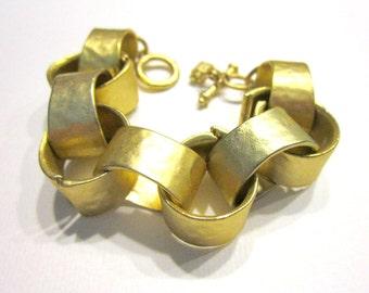 """Vintage Kenneth Jay Lane Large Link Gold Bracelet Vintage KJL Jewelry 6"""" Chunky Bold Bohemian Bracelet Gift for Her Gift for Mom"""