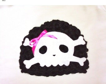 Summer SALE Baby Girl Skully Beanie with Pink bow.