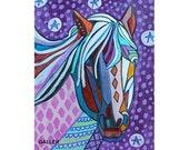 60% Off- Horse Art Print  Art Print Poster by Heather Galler Bird Animal Folk Art (HG519)