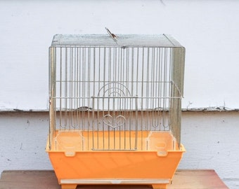 Yellow Vintage Bird Cage, Metal Bird Cage, Square Bird Cage, Kitsch Home Decor, Retro Home, Heart Door, Hanging Birdcage, 1970s