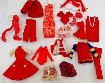 Red Barbie Clothes Lot 18 pieces swimsuit Dresses Pants Vintage Mod Doll Mattel Accessories