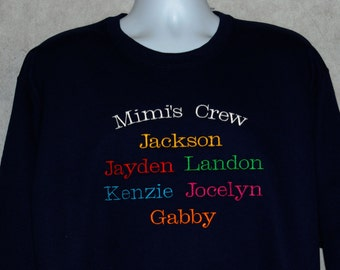 Mimi Sweatshirt, Personalize Six Kids Names, Grandparent Gift, Granny, Grandma, Papa, Auntie, Poppy, No Shipping Fee,  Ships TODAY, AGFT 366