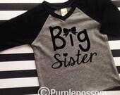 Big Sister Shirt raglan shirt big sister announcement shirt sparkle gold big sister bow shirt pregnancy announcement shirt raglan sleeve