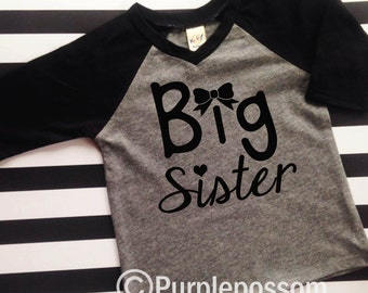 Big Sister Shirt raglan shirt big sister announcement shirt big sister bow shirt pregnancy announcement shirt raglan sleeve