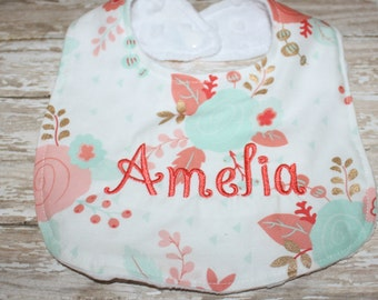 Baby Bib- Gold, Mint and Coral Floral Bib with Minky Backing, Baby Girl Bib, Baby Boy Bib, Minky Baby Bib, Gold Baby Bib