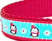 Teal Blue Penguin Dog Collar, Holiday, Ribbon Dog Collar, Adjustable, Christmas Dog Collar