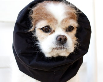 Black Waterproof Dog Snood,  Stay-Put 3 Rows Elastic Thread, Long Ear Coverup
