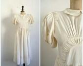 Antique Rayon Ecru Wedding Dress  ALICE Vintage 40s/50s / Size S