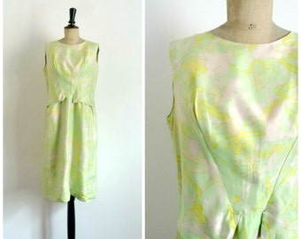 Vintage 60s POLLOCK Midi Right Dress Rayon Light Green Abstract Printed / Medium