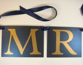 Mr. and Mrs. Chair Banners for the Bride and Groom's Head Table Chair Decorations All of my Card Stock Colors are Available