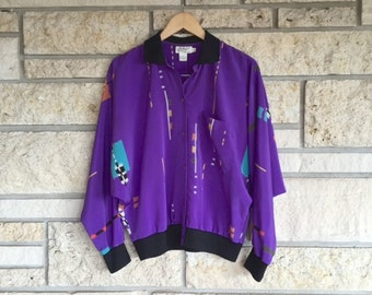 Vintage Retro Print Jacket Blouse / Size Medium